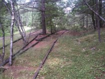 Abandoned spur tracks for a long lost paper mill