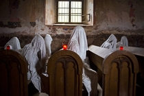 Abandoned St Georges Church Lukov Czech Republic - Called the Ghost Church artist placed shrouds inside