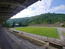 Abandoned stadium in Chiatura Georgia The pitch is still in use