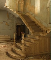 Abandoned staircase in St Johns Hospital Lincolnshire County