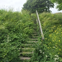 Abandoned stairs at an abandoned fortress Suomenlinna Finland