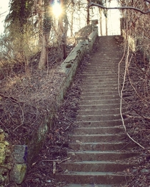 Abandoned Stairs Leading to the Hell House Altar in Ellicott City Maryland