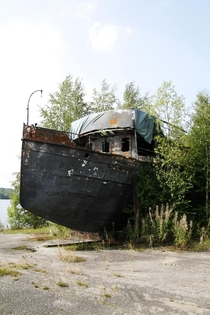 Abandoned steam powered lake ship