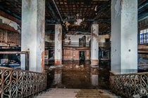 Abandoned  story hotel lobby on the Gulf Coast MS