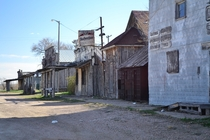 Abandoned street front on Pine Ridge Indian Reservation South Dakota