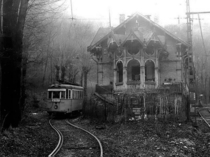 Abandoned streetcar and stationhouse
