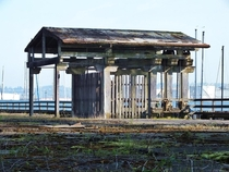 Abandoned structure on decaying dock Thea Foss Waterway Tacoma WA