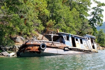 Abandoned Sunken Tugboat Sunshine Coast British Columbia Canada