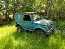 Abandoned Suzuki Samurai found on one of the San Jaun islands in Washington state Its tabs expired in