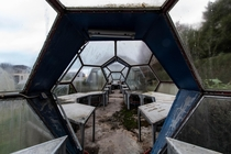 Abandoned symmetrical greenhouses with futuristic design germany