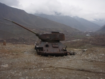 Abandoned T-- tank outside of Massouds tomb in Afghanistan