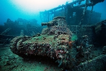 Abandoned tank underwater in the Truk Lagoon Micronesia