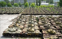 Abandoned tanks at the Kharkiv Locomotive Factory in Eastern Ukraine