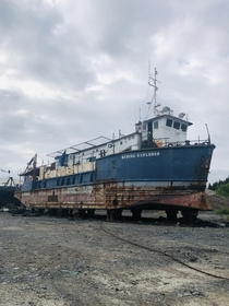 Abandoned Tender Vessel Bering Explorer in Seward Alaska