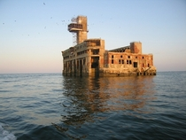 Abandoned test station of naval armament in Makhachkala Dagestan Caspian Sea