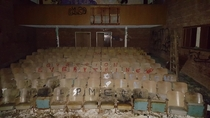 Abandoned theater inside an abandoned psychiatric hospital