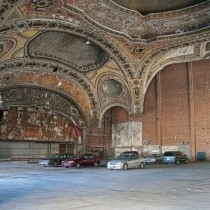 Abandoned theatre in Detroit now a parking garage