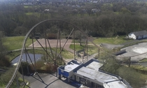 abandoned theme park from the top of the roller coaster