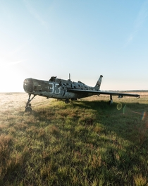 Abandoned Thunderstruck bomber at sunrise