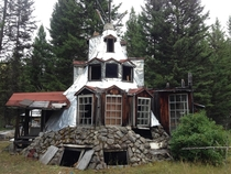 Abandoned tipi house stock meadows BC Canada  OC