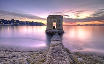 Abandoned tower on a beach in Antibes France