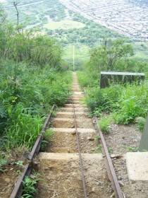 Abandoned tracks for running ammunition to the top of the mountain during WWII Hawaii
