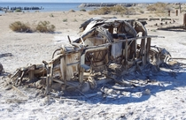 Abandoned trailer at Bombay Beach Salton Sea CA