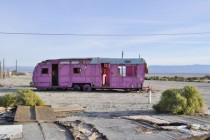 Abandoned trailer in the desert that someone painted pink Palm Desert CA