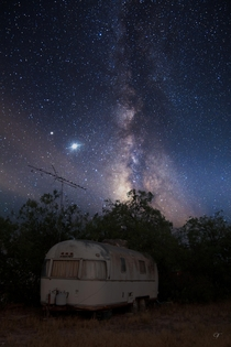 Abandoned Trailer Under the Milky Way Core