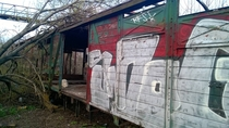 Abandoned train car on the outskirts of Budapest  OC