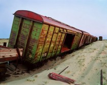 Abandoned train in Okha Sakhalin Island Russia