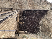 Abandoned train tracks in California it was a  mile hike in a super cold windy desert but there were amazing tunnels and bridges everywhere it was definitely worth it to see what happens over time