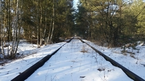 Abandoned train tracks leading to former Soviet military base