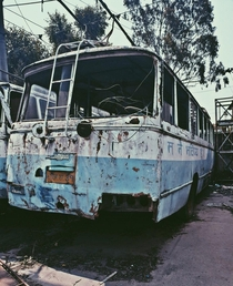 Abandoned Trolley bus in KathmanduNepal the writing on the side says I am the future from Twitter