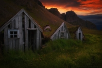 Abandoned Turf Houses near Stokksnes Southeast Iceland  by Ryan Buchanan