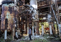 Abandoned Union Carbide Factory Bhopal where in  leak of toxic gas methyl isocyanate MIC killed almost  people and further injured  people
