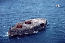 Abandoned US Military Fort Drum Island Battleship Surrendered in  and Recaptured when the Americans returned to the Philippines  gals of oil was pumped into the vent afterwards explosives were dumped resulting in an explosion killing  Japanese soldiers  P