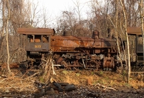 Abandoned W-class steam locomotive by Unknown