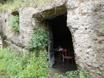 Abandoned warehouse made out of an abandoned Etruscan tomb in Blera Italy