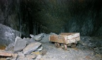 Abandoned waste truck in former Welsh slate mine