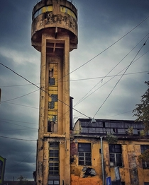 Abandoned Water Tower of Red Nailer plant in Saint Petersburg  a masterpiece of Soviet constructivism