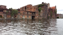 Abandoned waterfront buildings in Szczecin Poland
