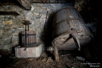 Abandoned wine cellar in ghost village of Canate di Marsiglia Liguria Italy