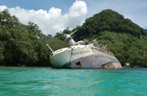 Abandoned World Discoverer Cruise Ship Lies Half-Sunken in the Solomon Islands