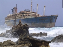 Abandoned wreck of the SS America at Playa de Garcey Fuerteventura in the Canary Islands