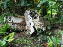 Abandoned WW bomber on Pelelui Island in the Philippines