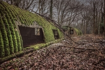 Abandoned WW Nissan huts at RAF Baylaugh Hall in Norfolk