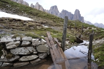 Abandoned WWI trench at m altitude in Lagazuoi the Dolomites Italy