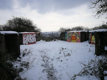 Abandoned WWII gun emplacements in the snow Bristol England