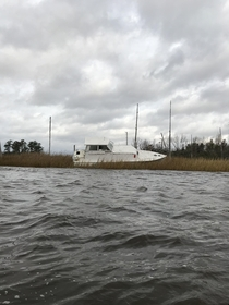 Abandoned yacht on the Cape Fear River Near Wilmington NC